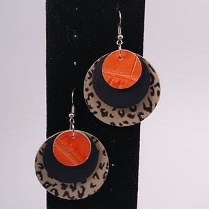 Triple layer leather circle earrings